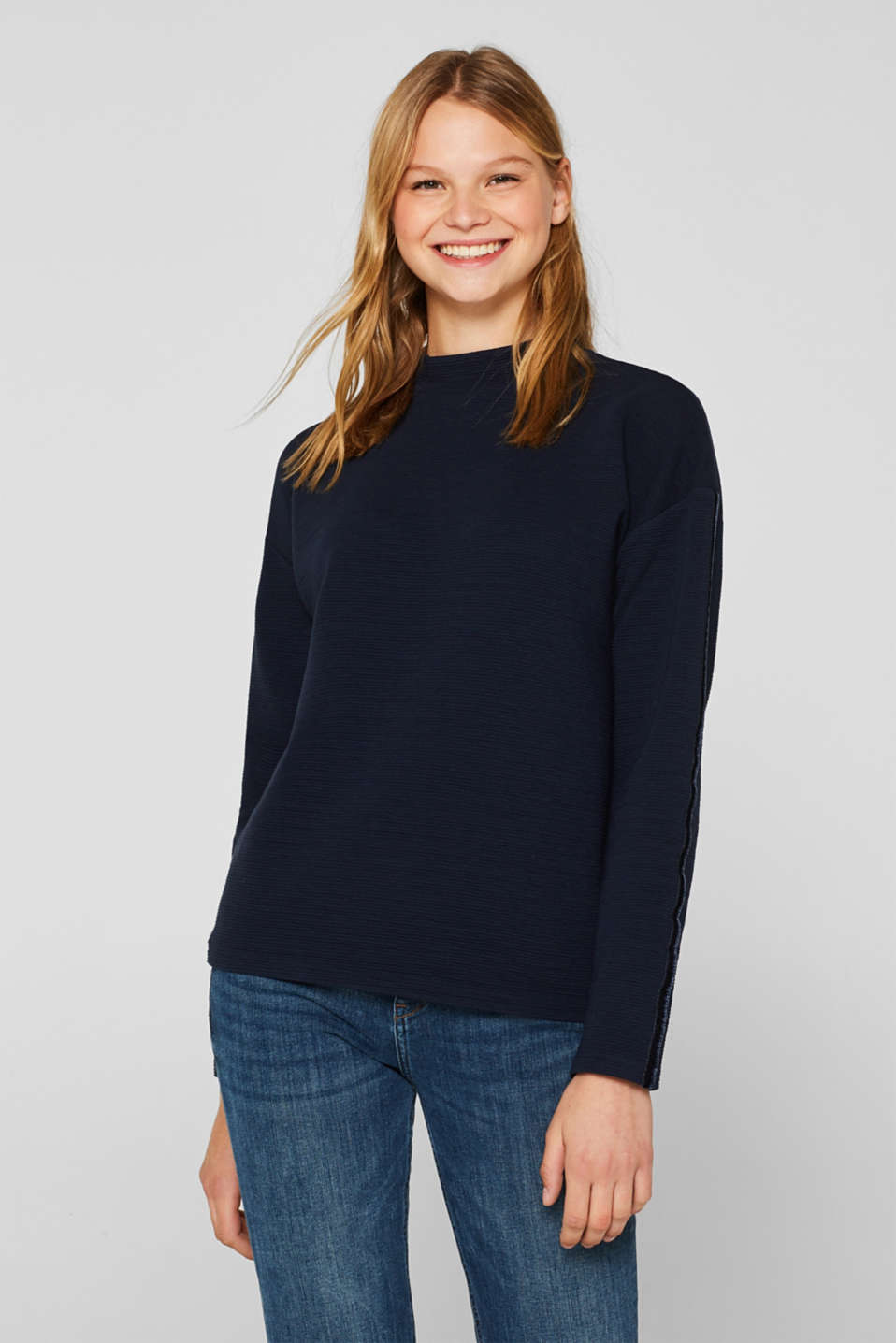 Stretch long sleeve top with velvet details, NAVY, detail image number 0