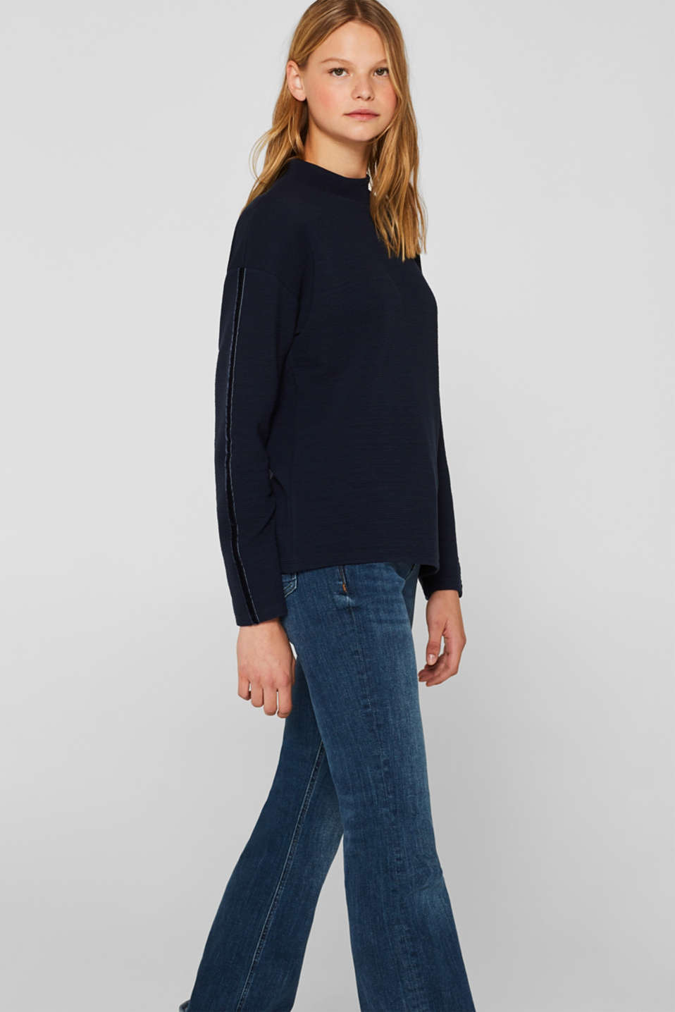 Stretch long sleeve top with velvet details, NAVY, detail image number 5