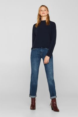 Stretch long sleeve top with velvet details, NAVY, detail