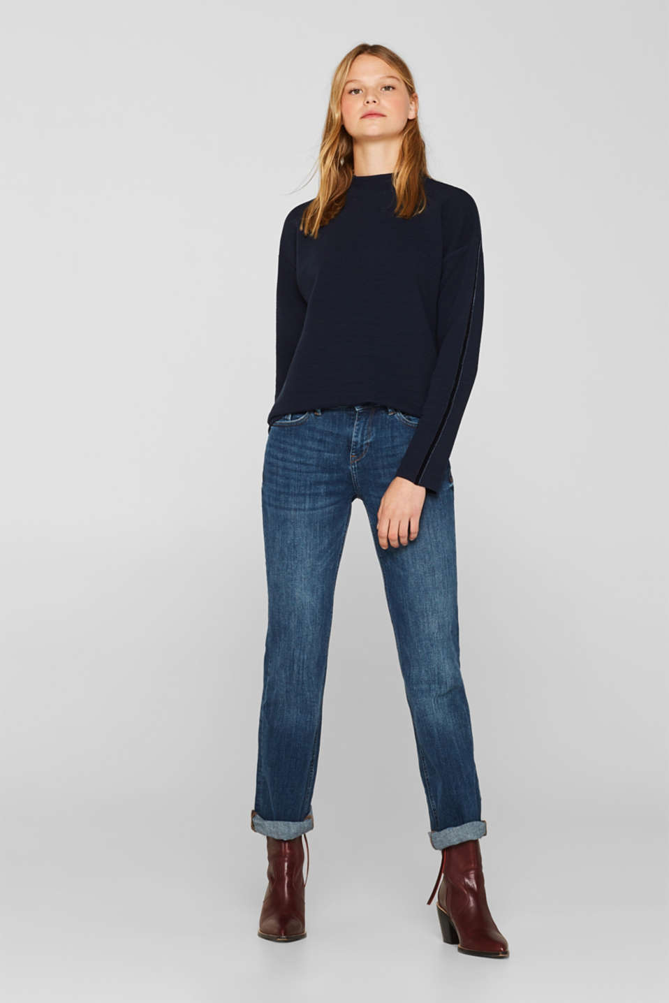Stretch long sleeve top with velvet details, NAVY, detail image number 1