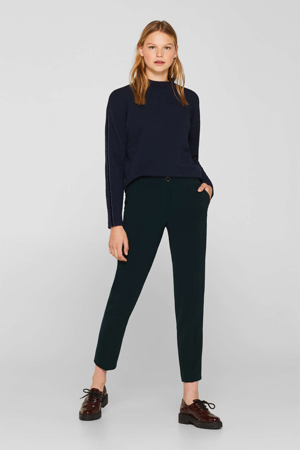 Stretch long sleeve top with velvet details, NAVY, detail image number 7
