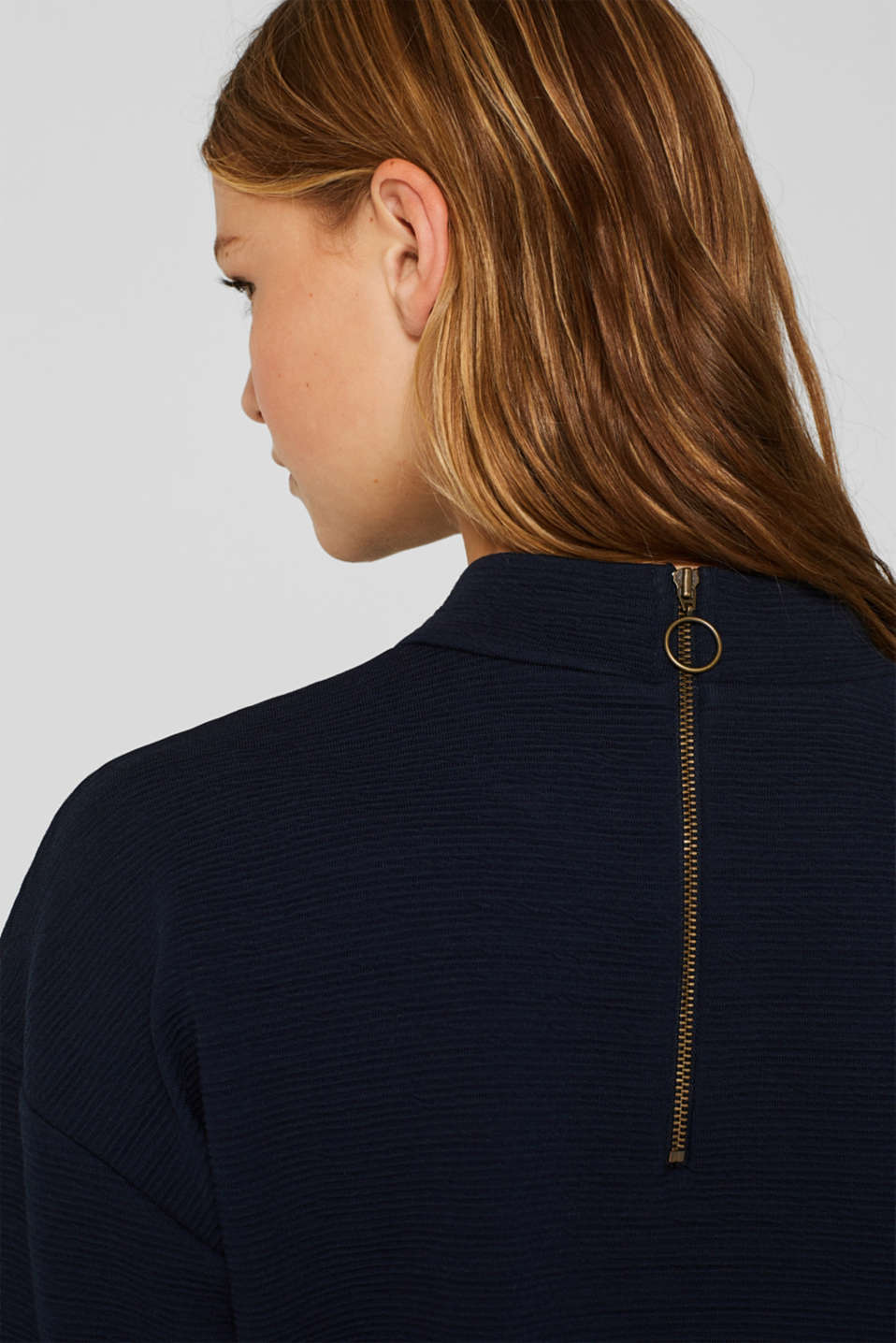 Stretch long sleeve top with velvet details, NAVY, detail image number 2