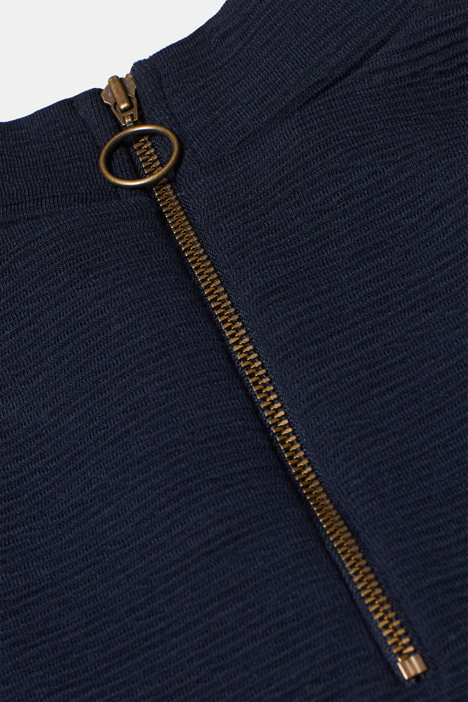 Stretch long sleeve top with velvet details, NAVY, detail image number 4
