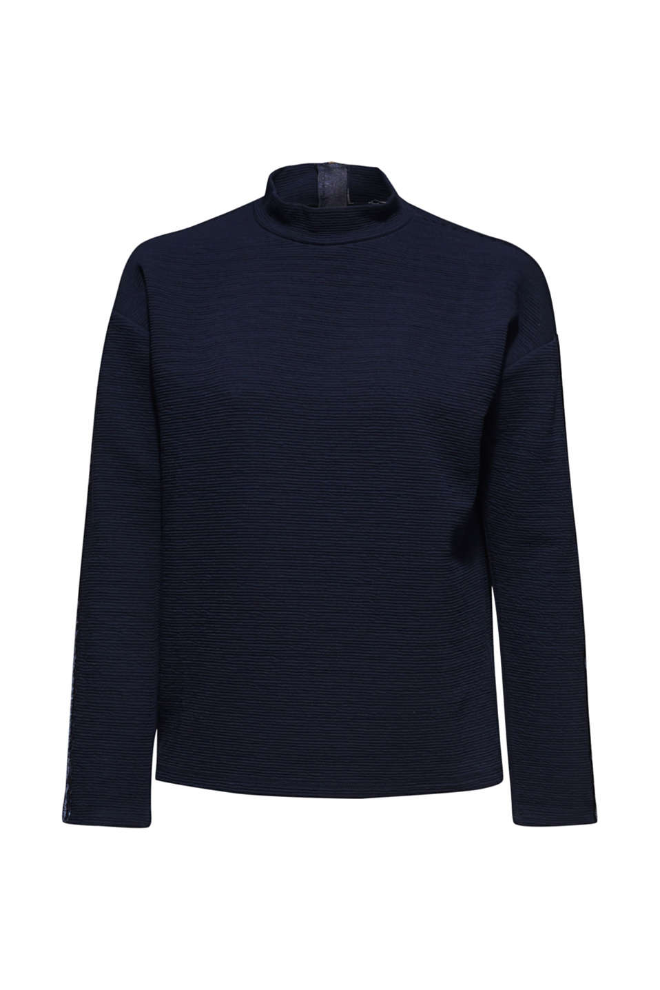 Stretch long sleeve top with velvet details, NAVY, detail image number 8