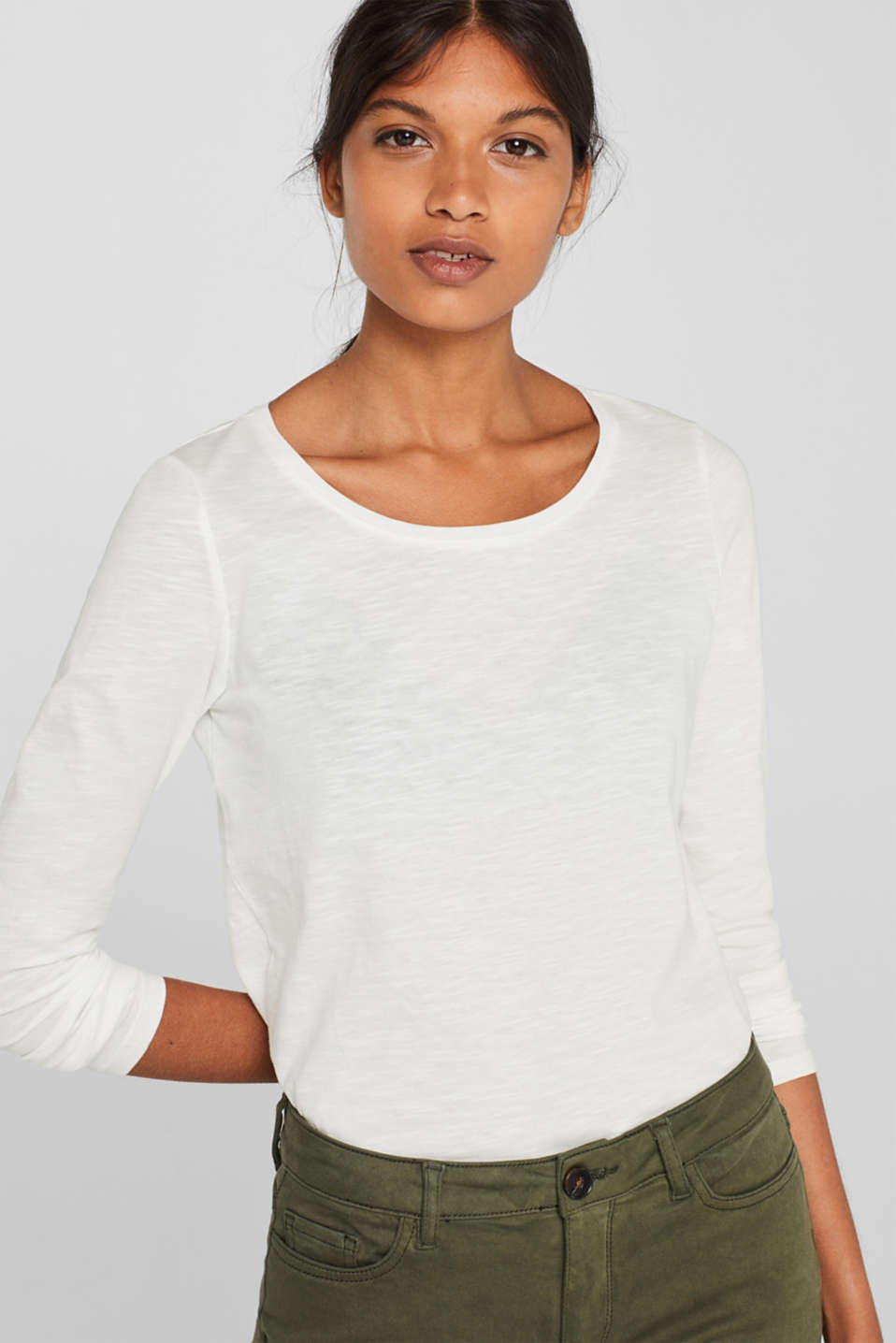 Long sleeve slub jersey top