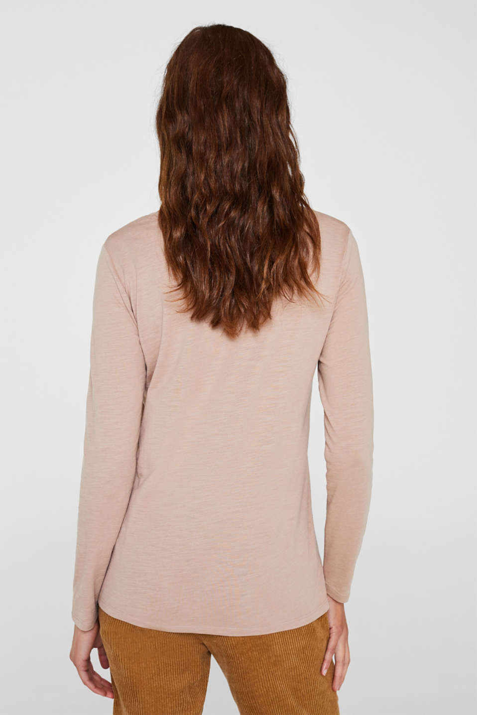 Lightweight slub long sleeve top with organic cotton, TAUPE 5, detail image number 3