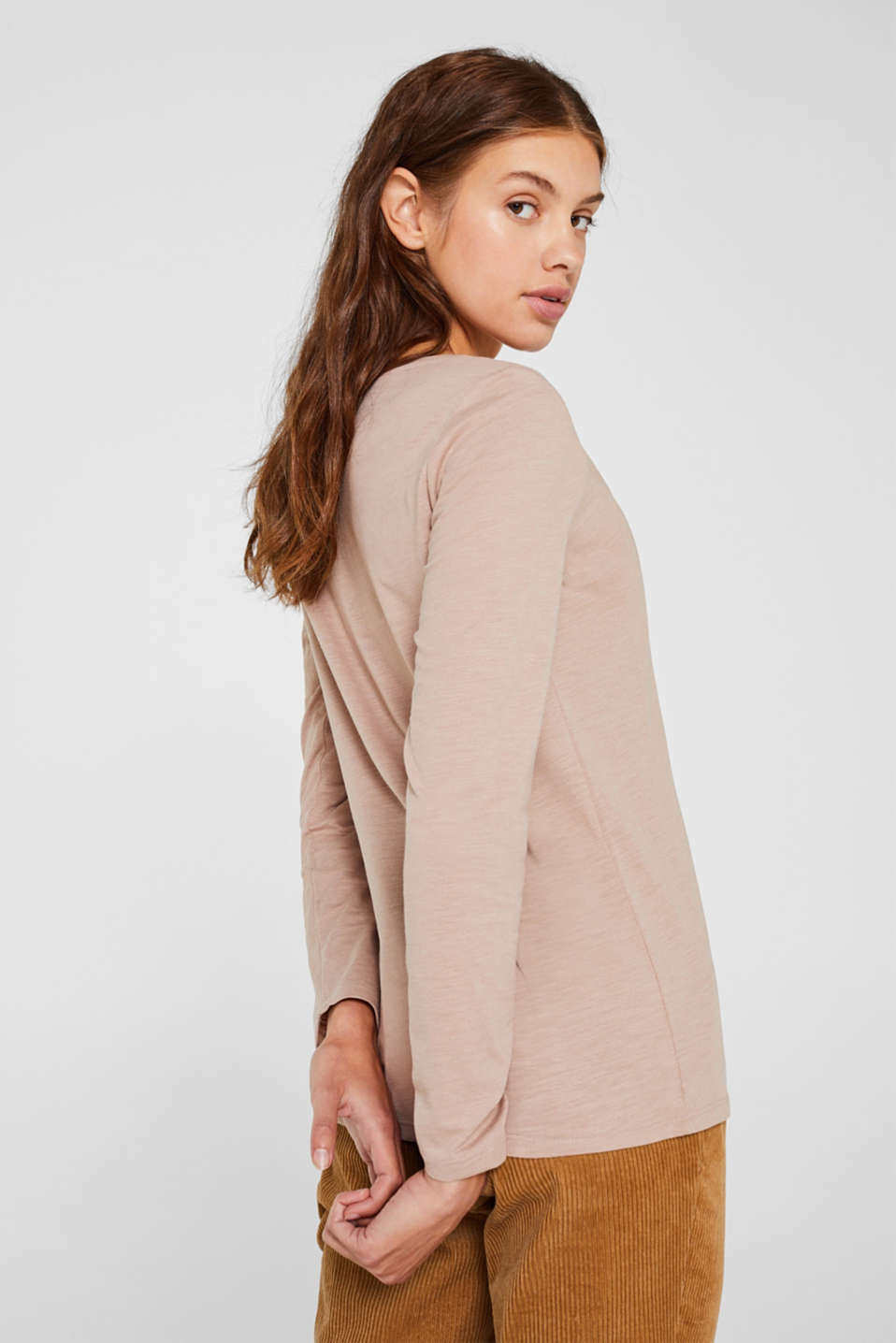 Lightweight slub long sleeve top with organic cotton, TAUPE 5, detail image number 4