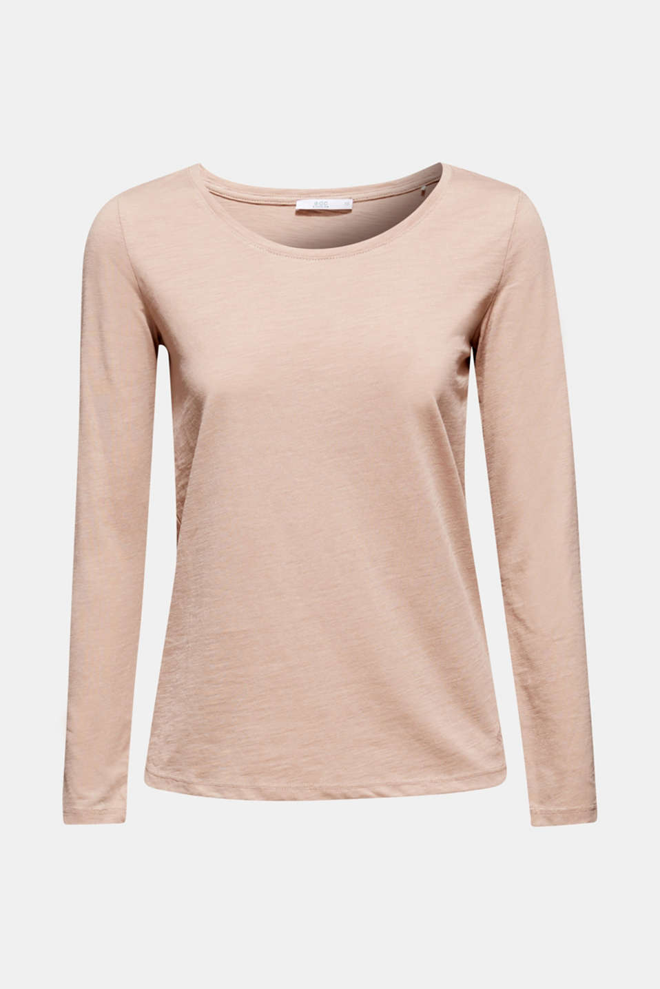 Lightweight slub long sleeve top with organic cotton, TAUPE 5, detail image number 7