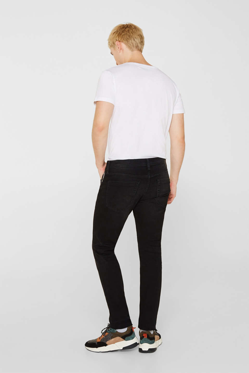 Stretch jeans with washed-out effects, BLACK DARK WASH, detail image number 1