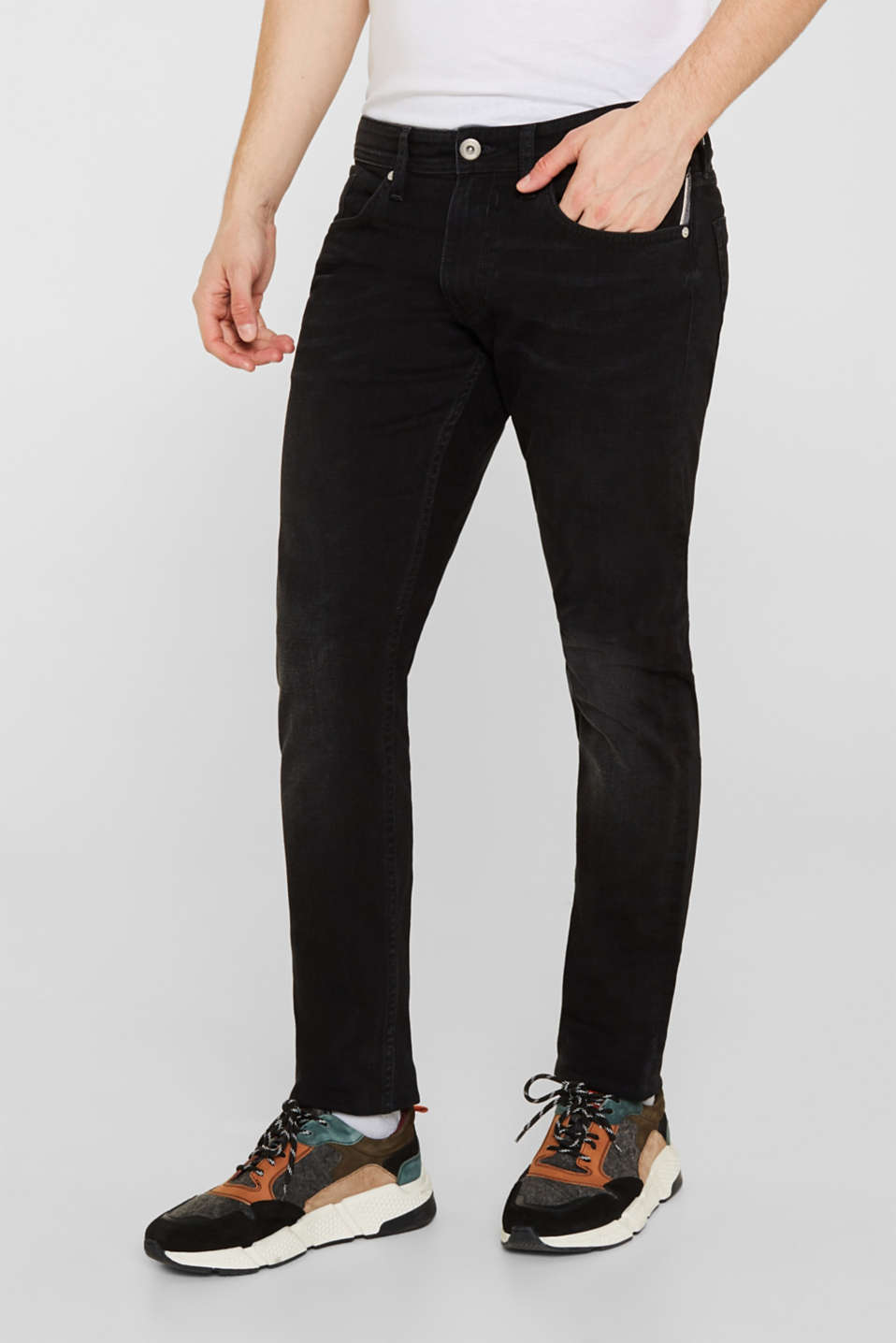 Stretch jeans with washed-out effects, BLACK DARK WASH, detail image number 4