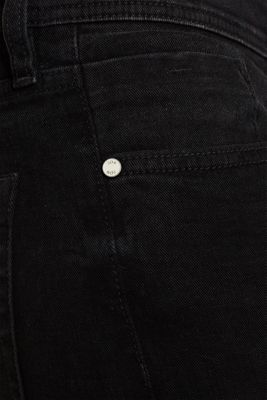 Stretch jeans with washed-out effects, BLACK DARK WASH, detail