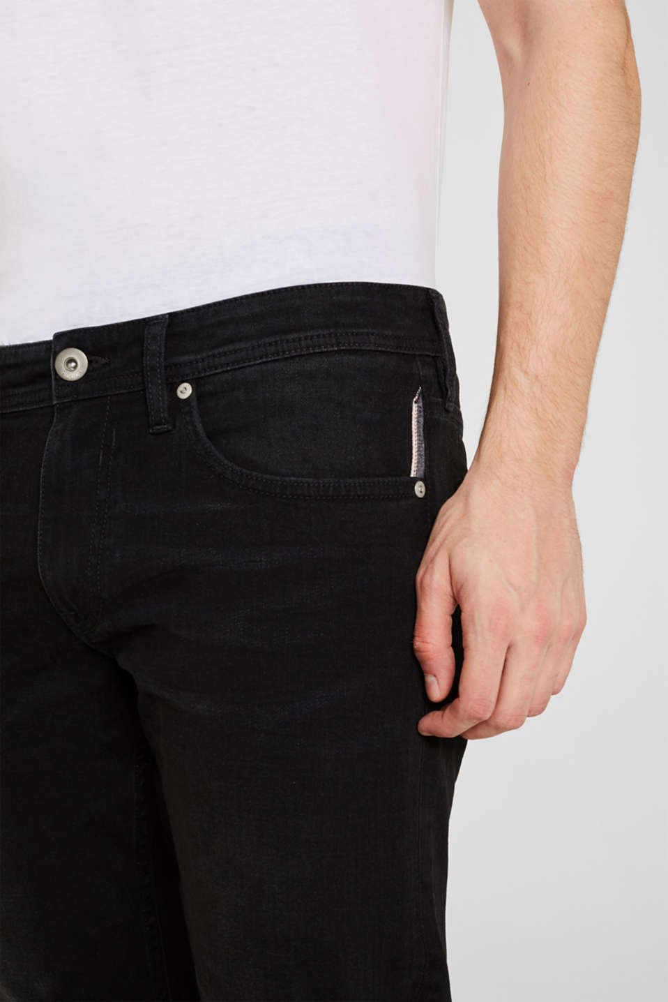 Stretch jeans with washed-out effects, BLACK DARK WASH, detail image number 6