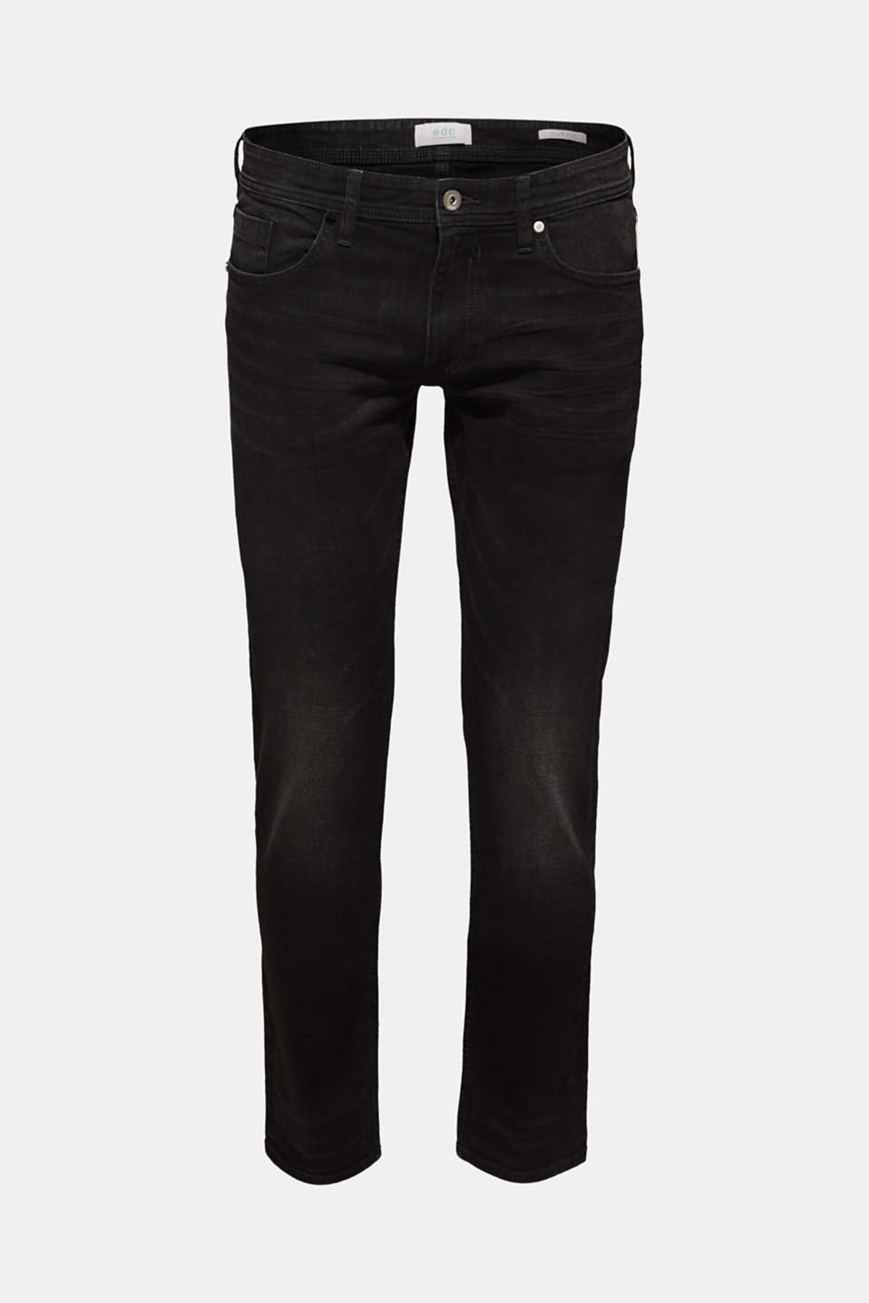 Stretch jeans with washed-out effects, BLACK DARK WASH, detail image number 7