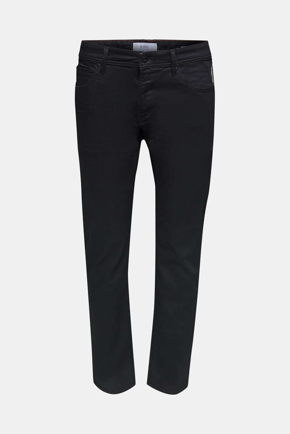 Stretch jeans in a coated finish, BLACK DARK WASH, detail image number 5