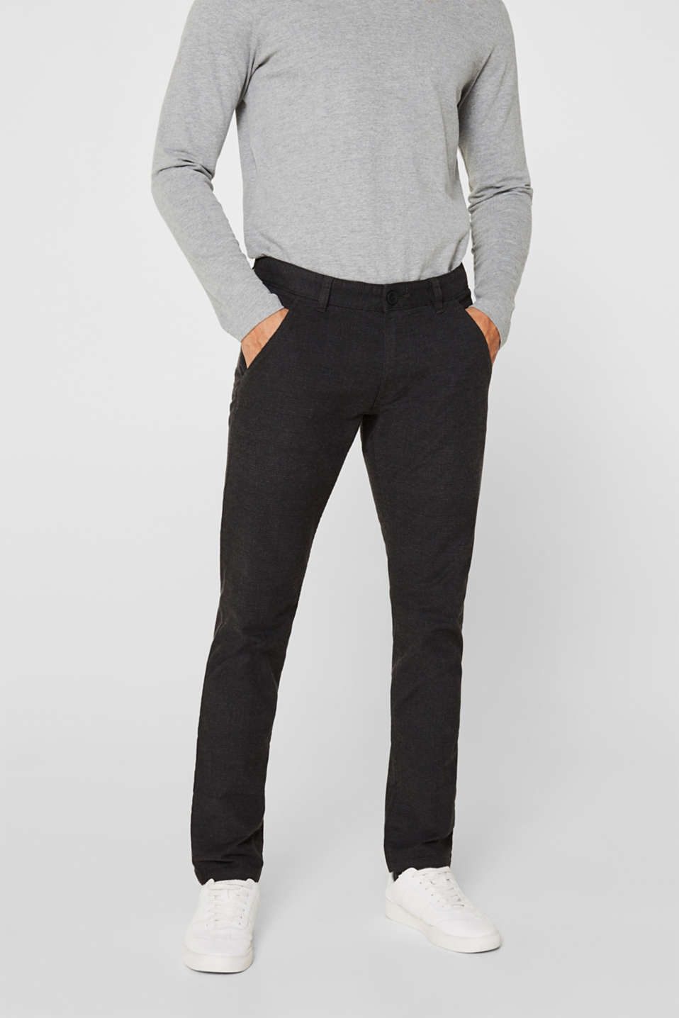 Stretch trousers with a checked pattern