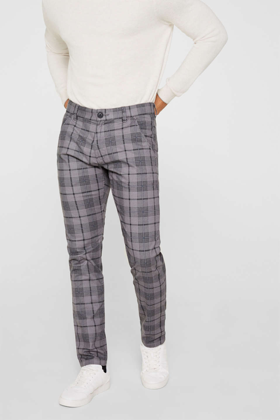 Stretch trousers with a checked pattern, DARK GREY, detail image number 0