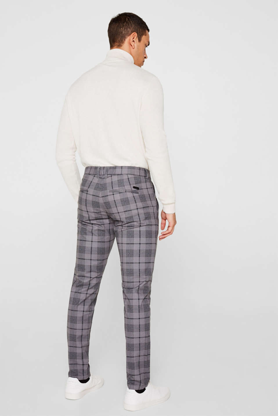 Stretch trousers with a checked pattern, DARK GREY, detail image number 3