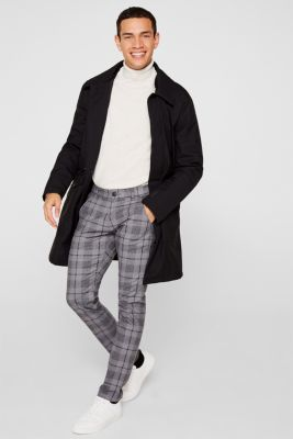 Stretch trousers with a checked pattern, DARK GREY, detail