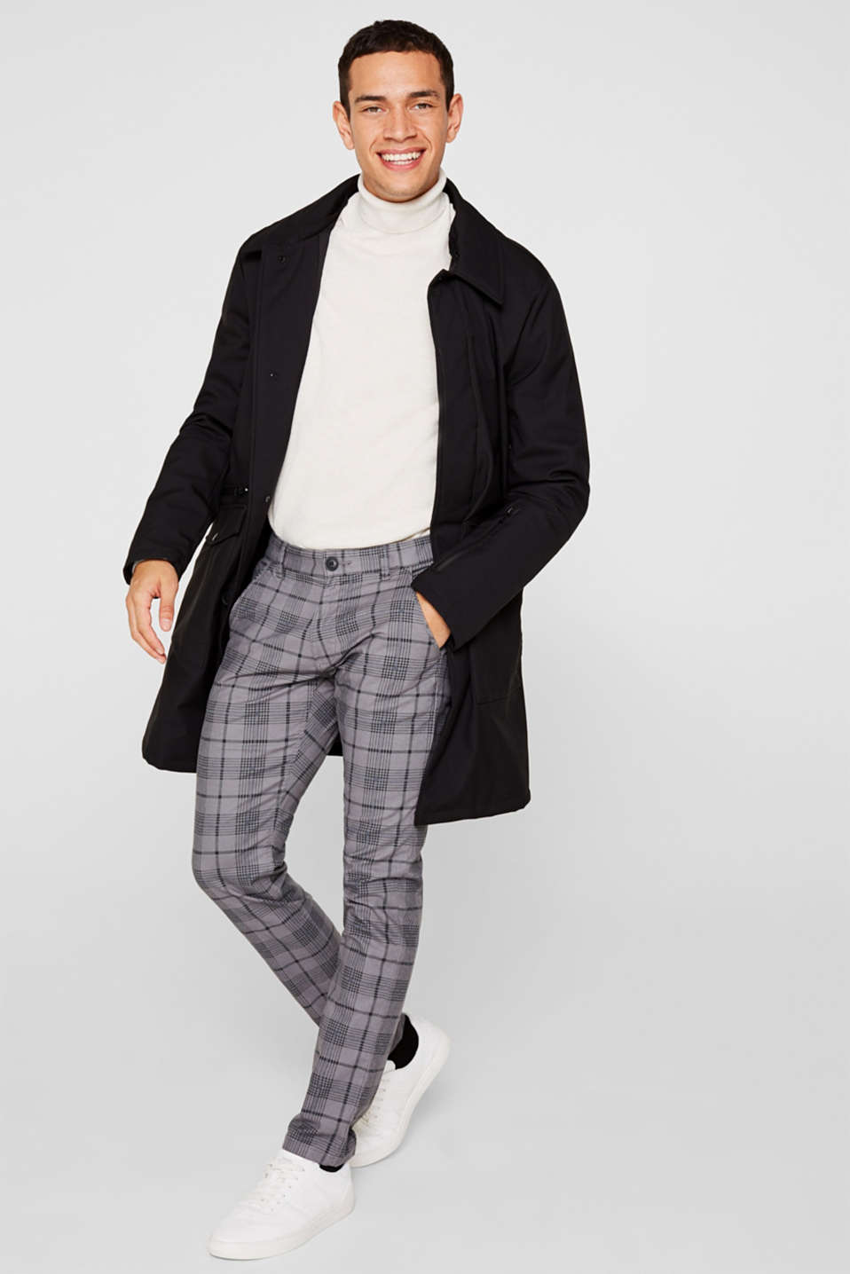 Stretch trousers with a checked pattern, DARK GREY, detail image number 1