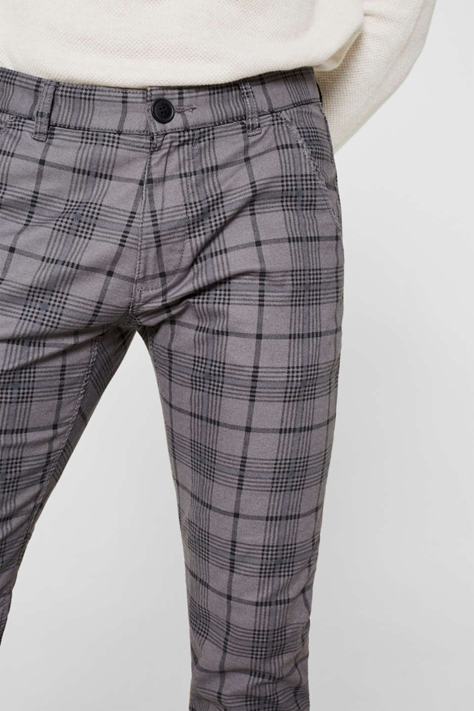Stretch trousers with a checked pattern, DARK GREY, detail image number 2