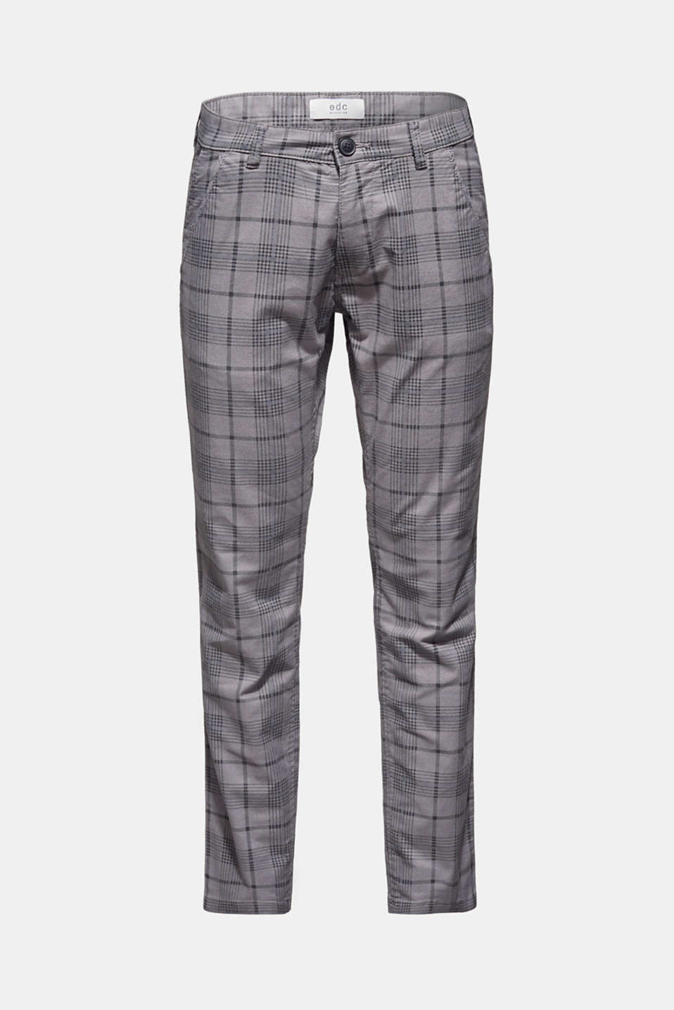 Stretch trousers with a checked pattern, DARK GREY, detail image number 7