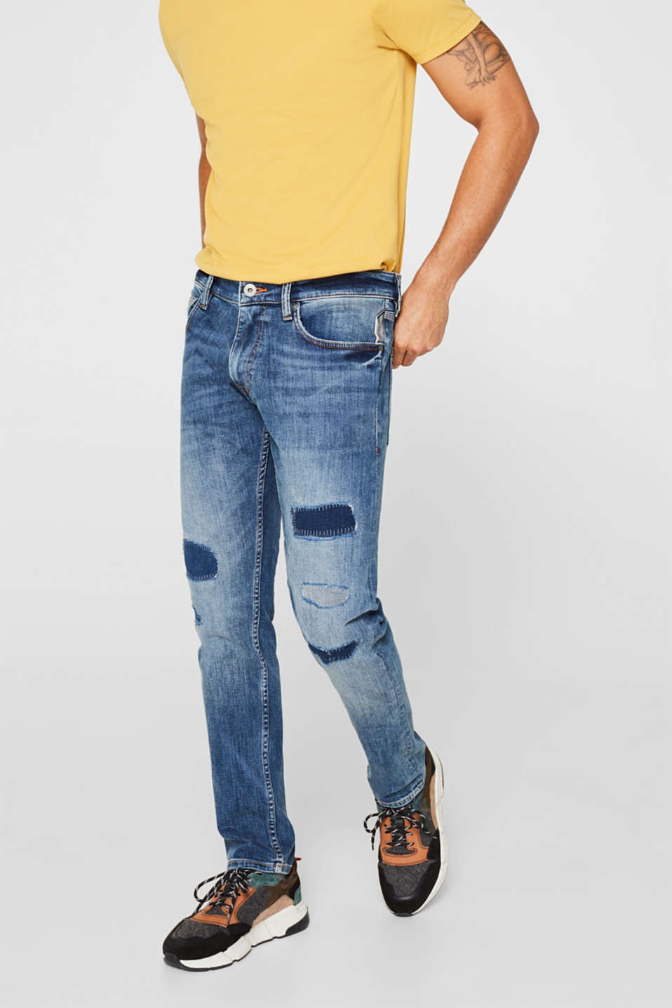 Stretch jeans in a patchwork look, BLUE MEDIUM WASH, detail image number 0