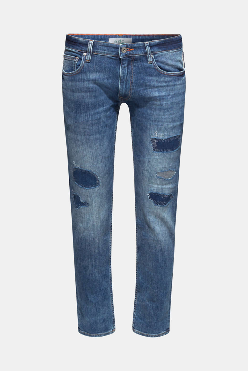 Stretch jeans in a patchwork look, BLUE MEDIUM WASH, detail image number 6