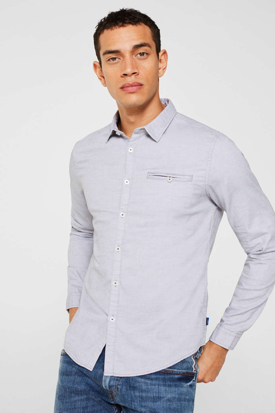 edc - Finely textured shirt, 100% cotton
