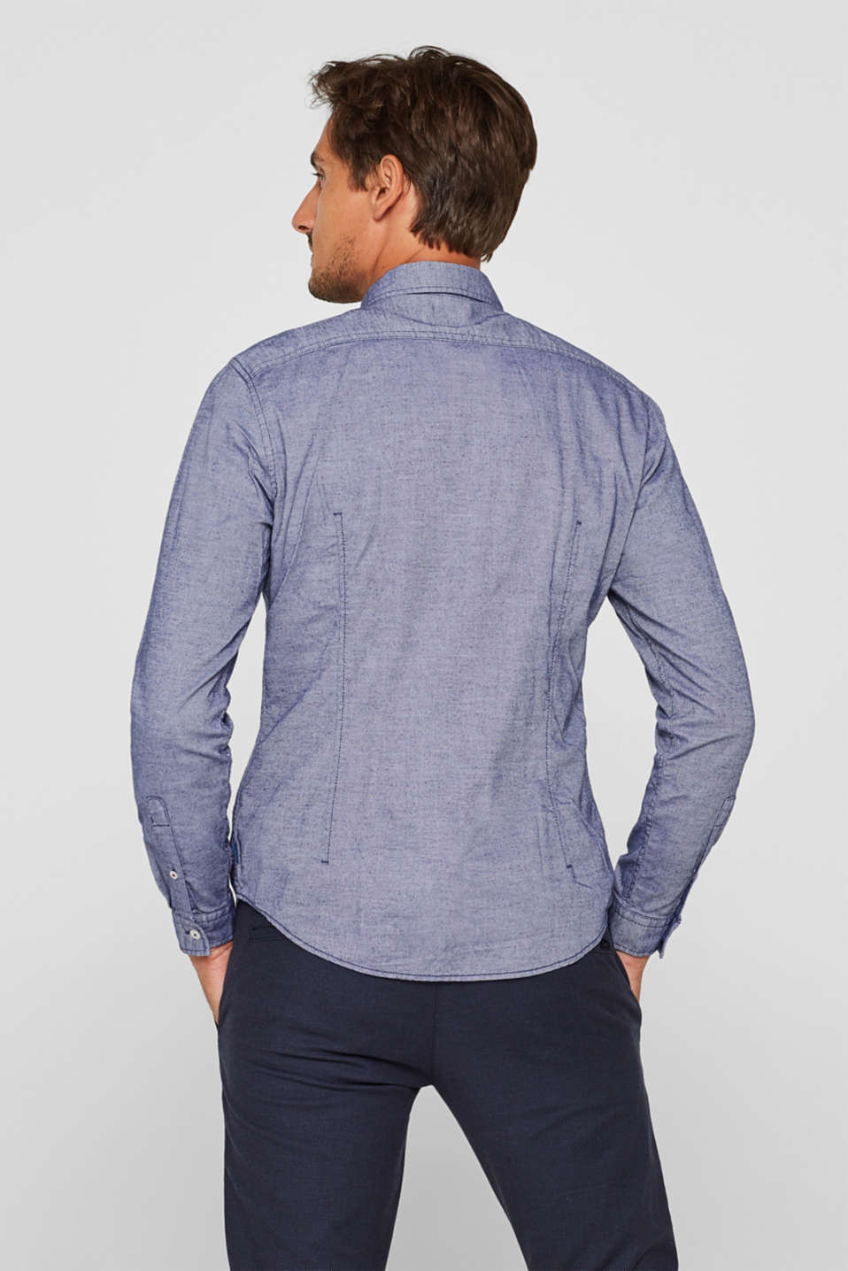 Finely textured shirt, 100% cotton, NAVY, detail image number 3