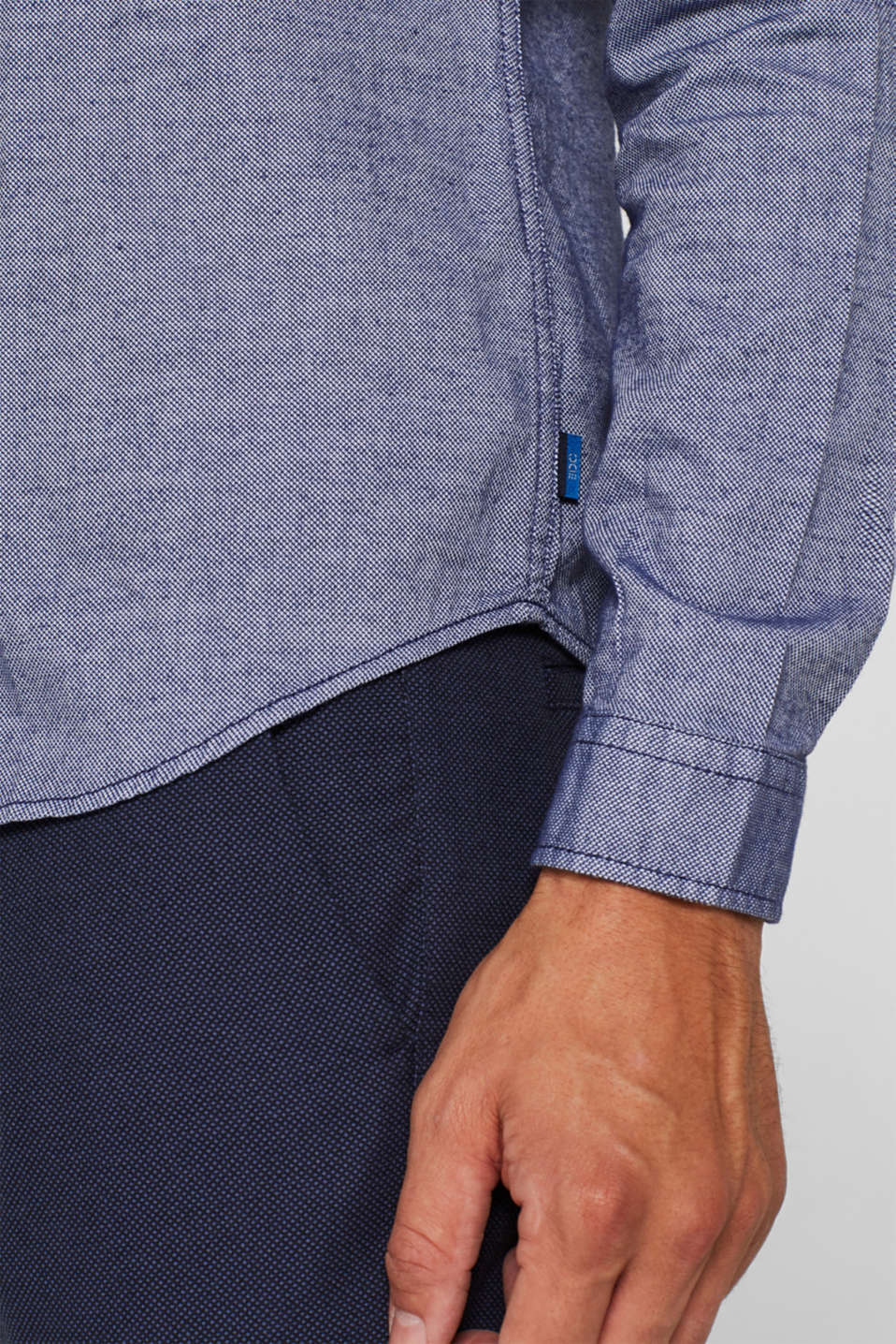 Finely textured shirt, 100% cotton, NAVY, detail image number 2