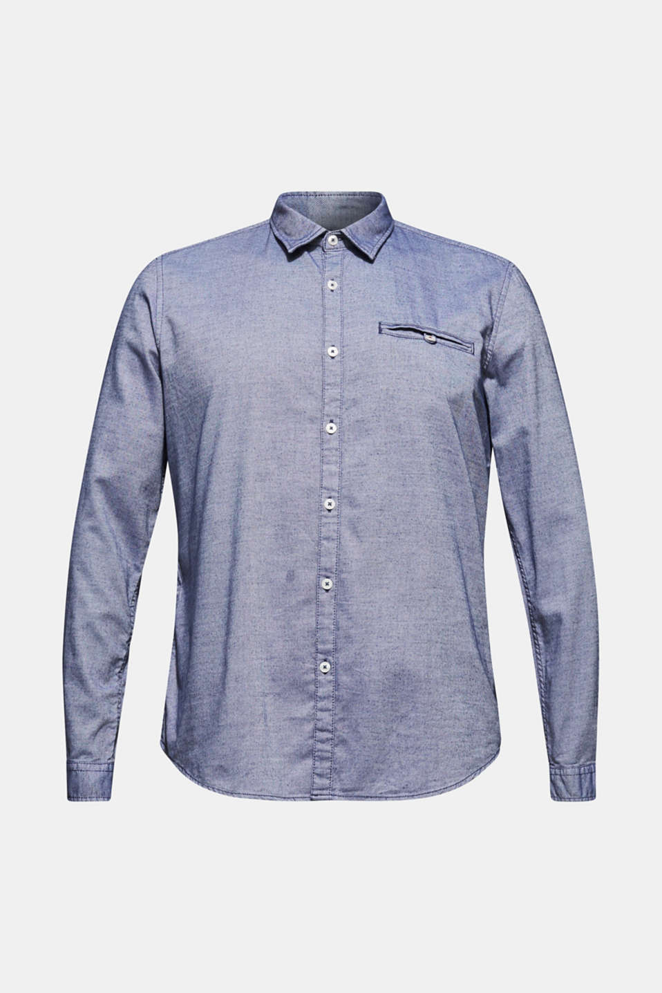 Finely textured shirt, 100% cotton, NAVY, detail image number 5