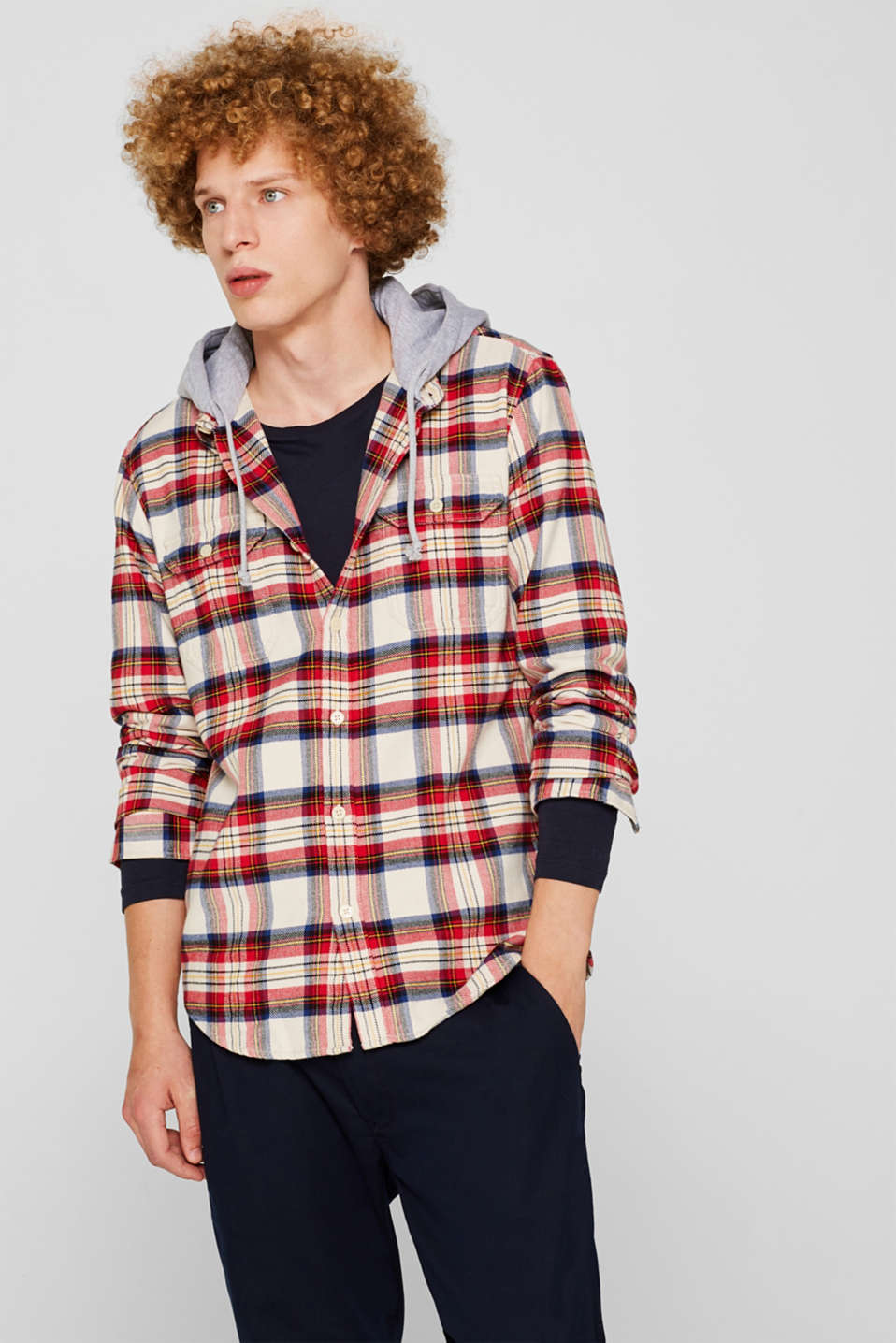 edc - Flannel top with a jersey hood