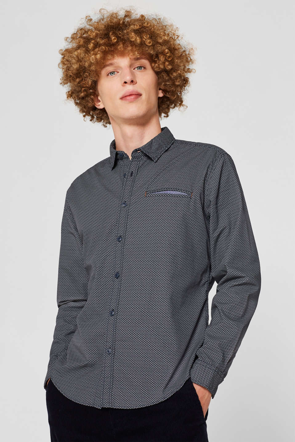 Shirt with an all-over print, 100% cotton , NAVY, detail image number 0
