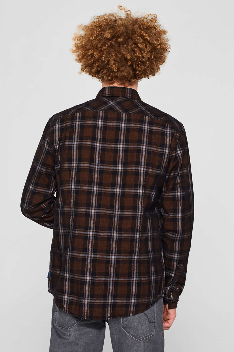 Corduroy top with a check pattern, 100% cotton, GREY, detail image number 3