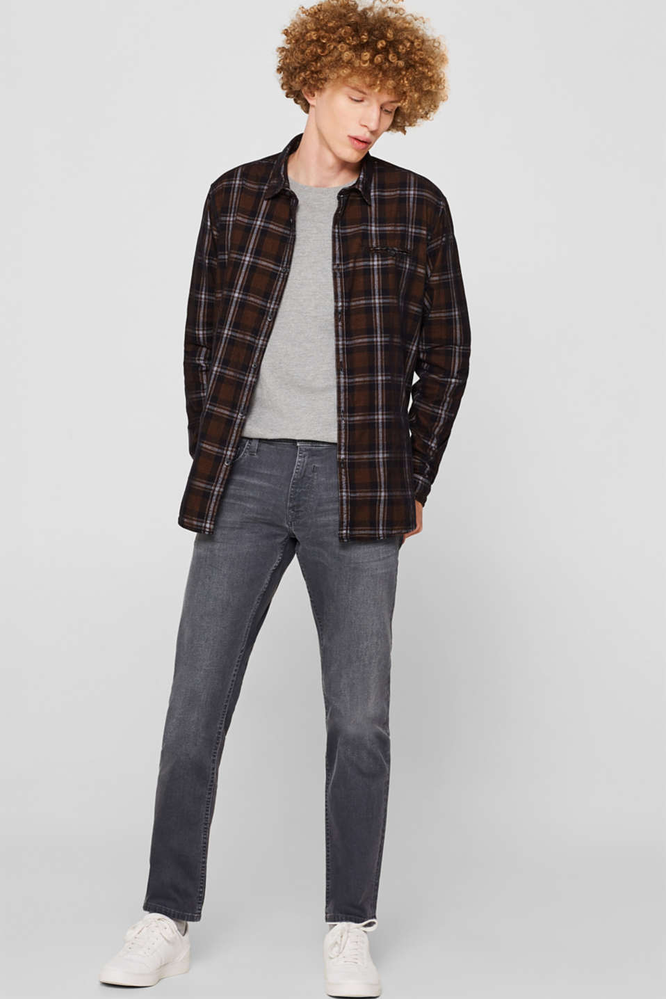 Corduroy top with a check pattern, 100% cotton, GREY, detail image number 1