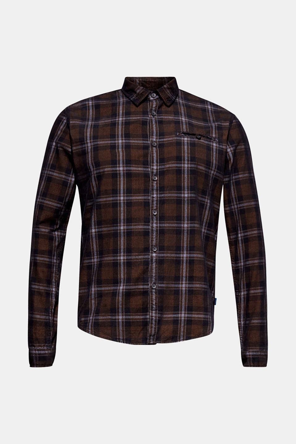 Corduroy top with a check pattern, 100% cotton, GREY, detail image number 5