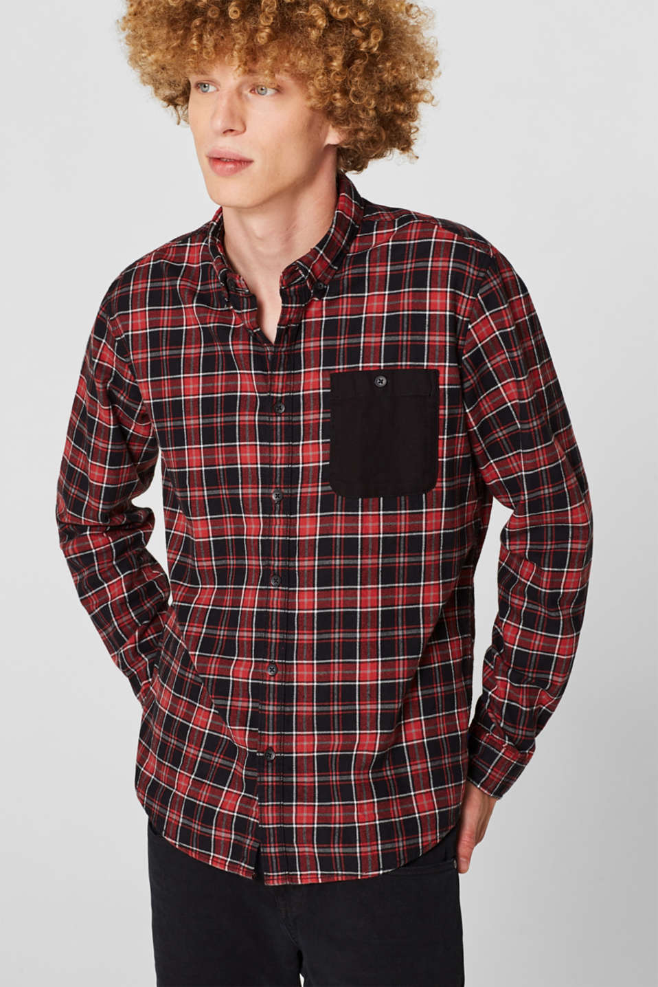 Check flannel top made of 100% cotton, BLACK, detail image number 0