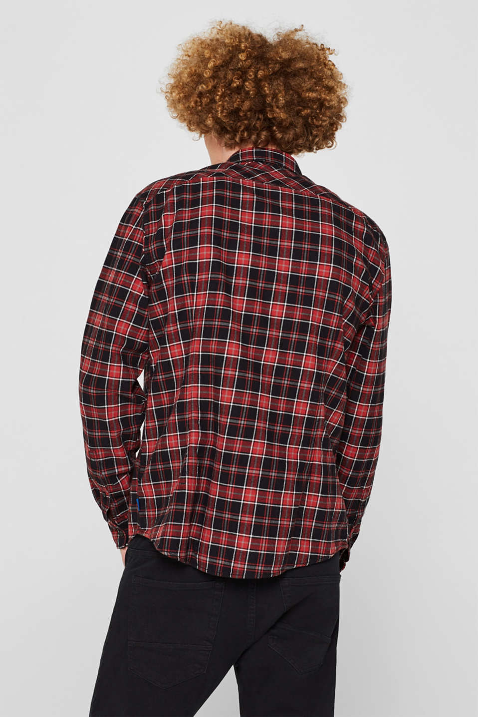 Check flannel top made of 100% cotton, BLACK, detail image number 3