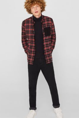 Check flannel top made of 100% cotton, BLACK, detail