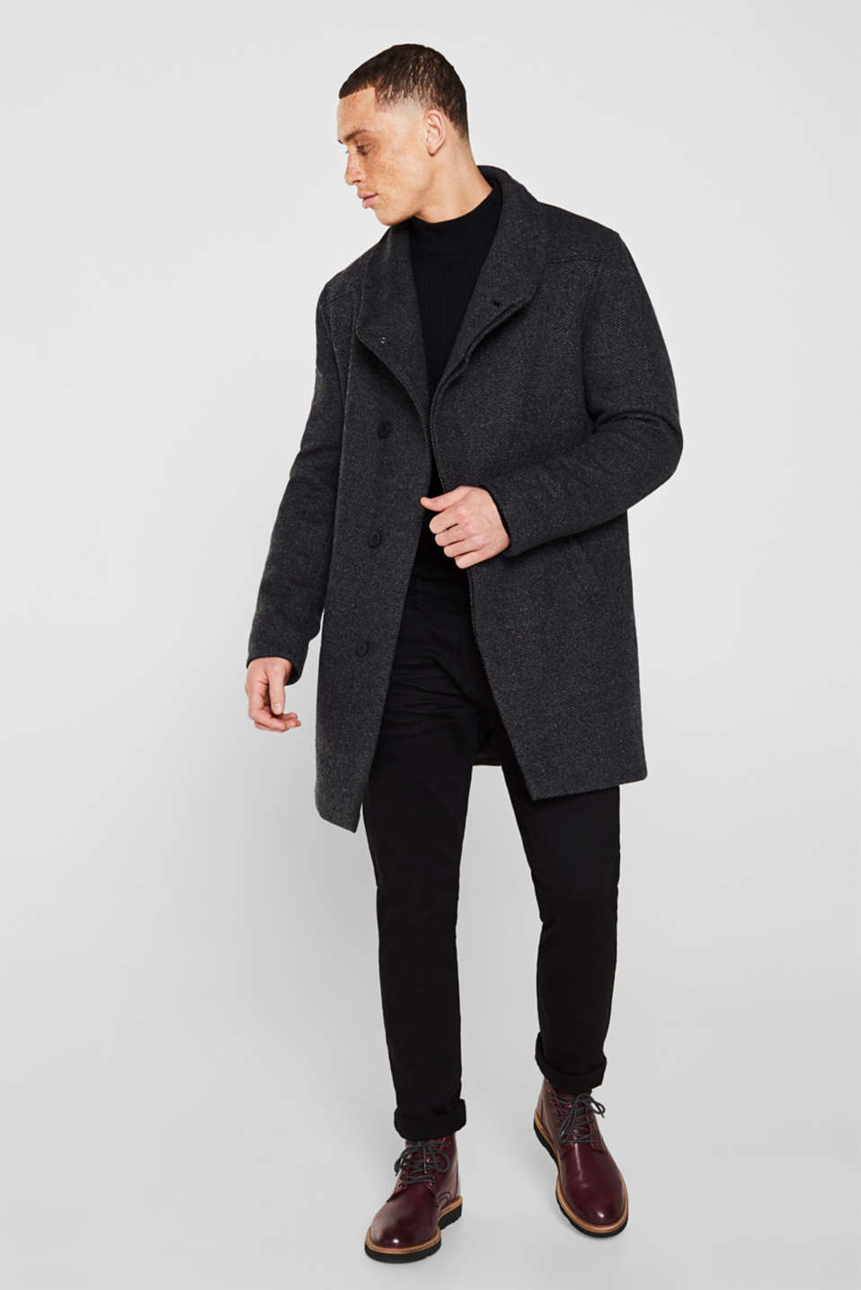 Coats woven, DARK GREY, detail image number 1