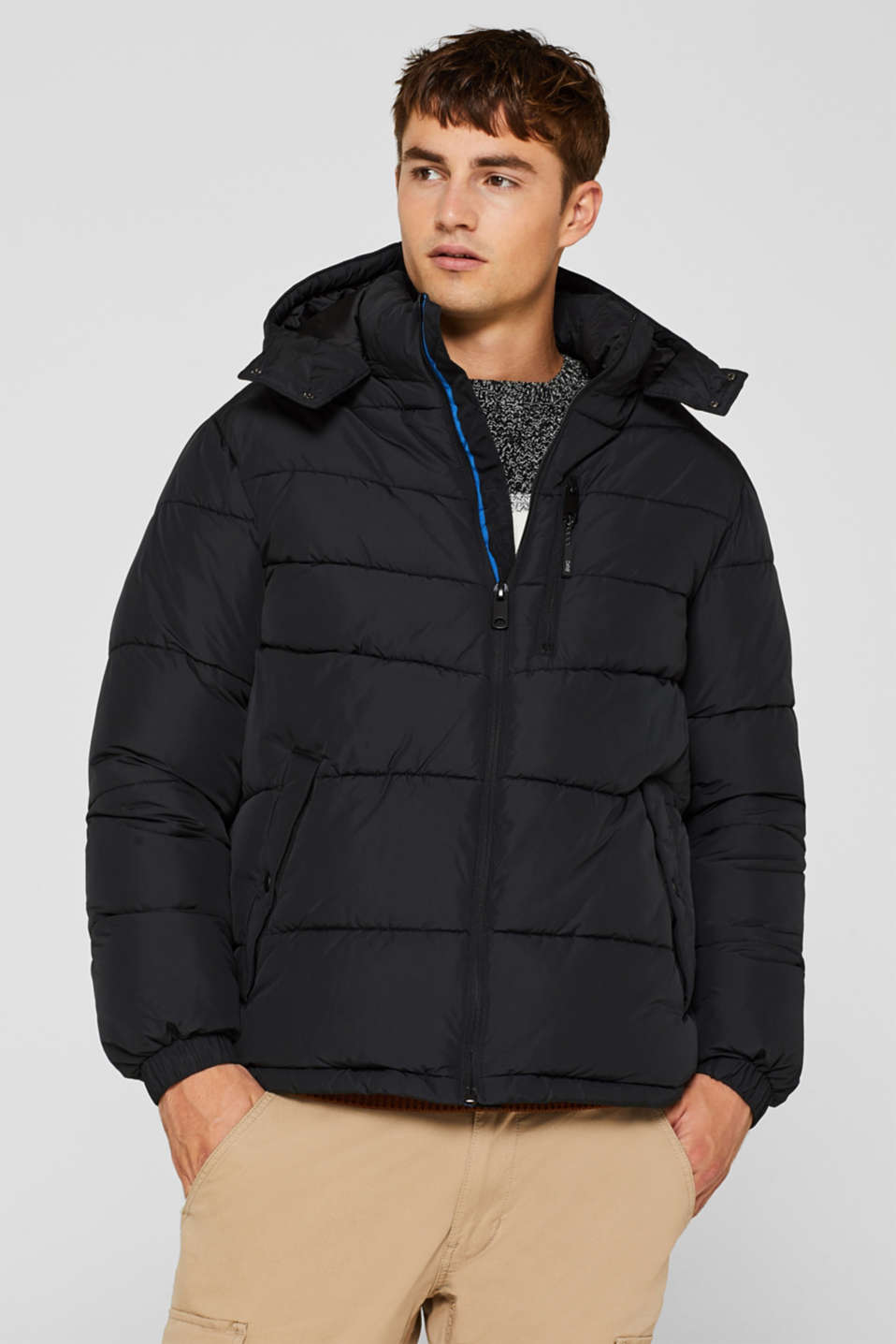 edc - Quilted jacket with detachable hood