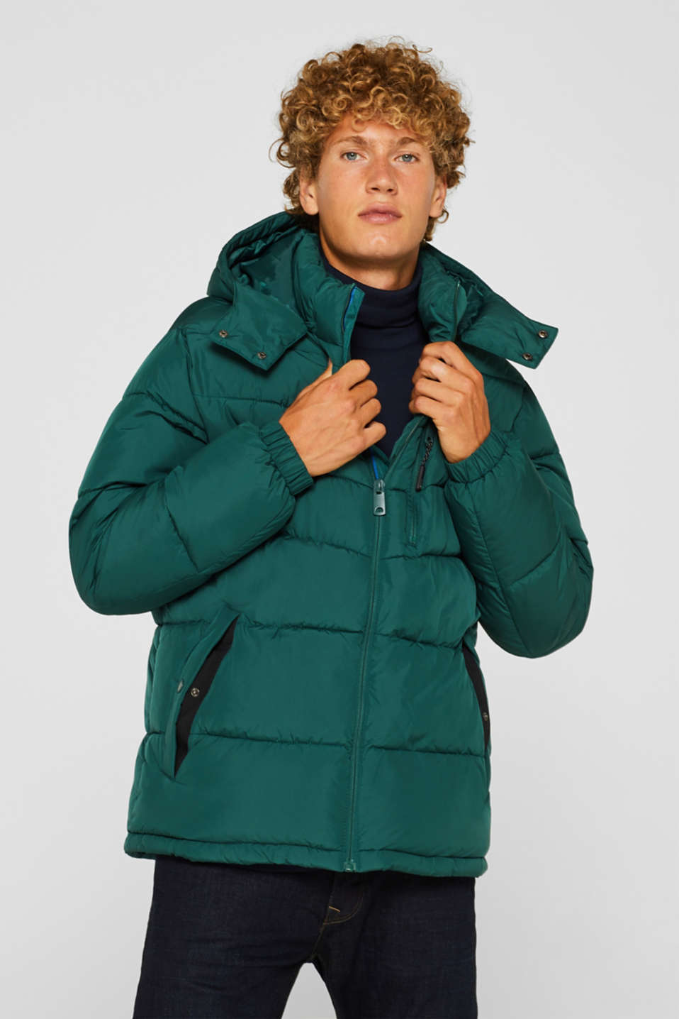 Quilted jacket with detachable hood, DARK GREEN, detail image number 0