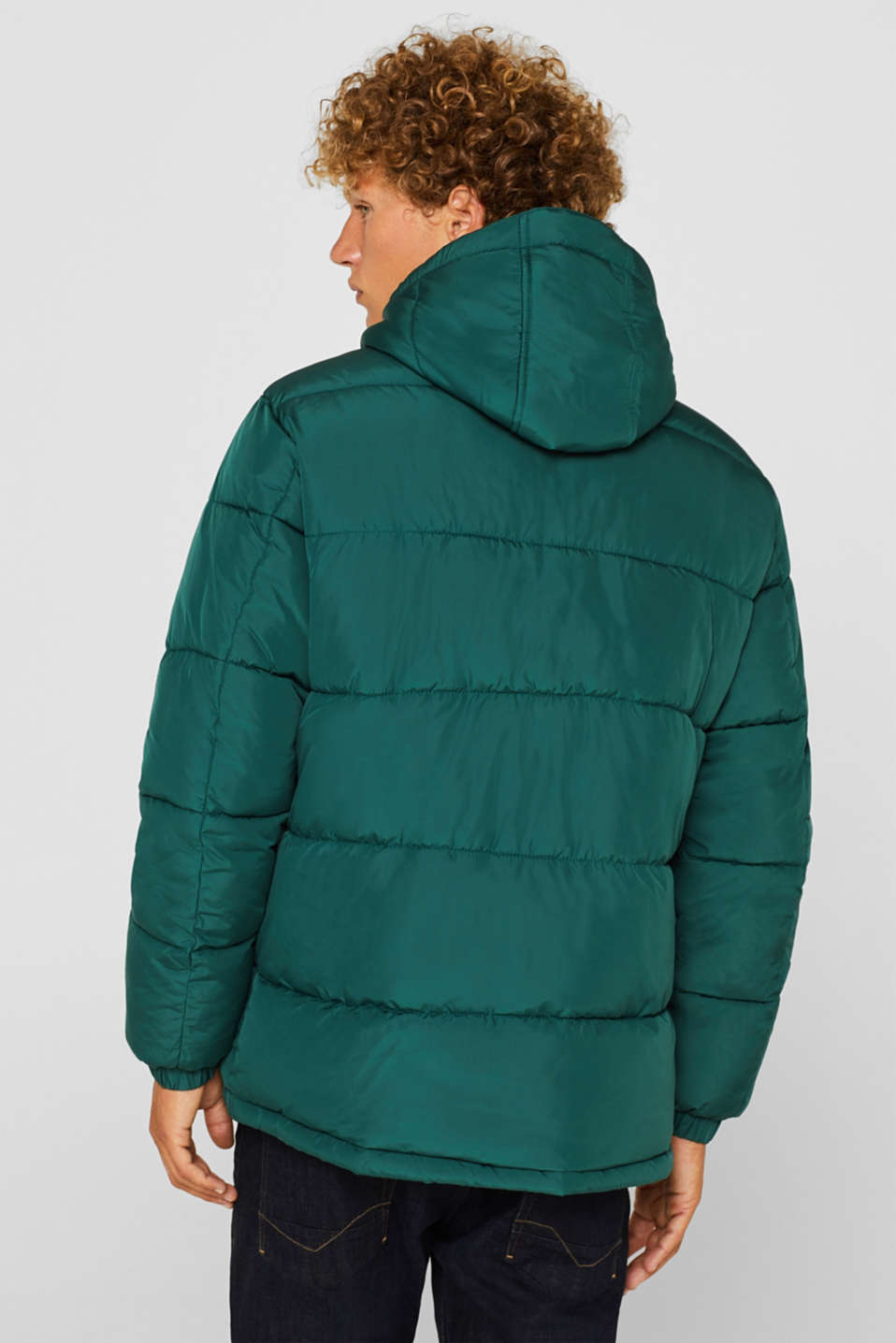Quilted jacket with detachable hood, DARK GREEN, detail image number 3
