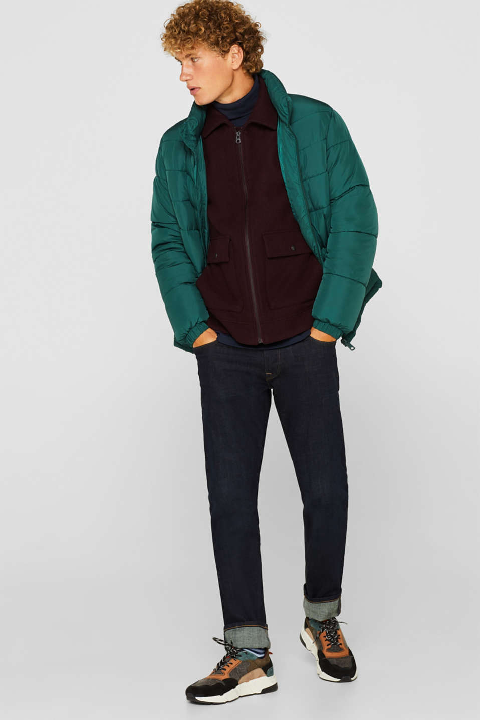 Quilted jacket with detachable hood, DARK GREEN, detail image number 1