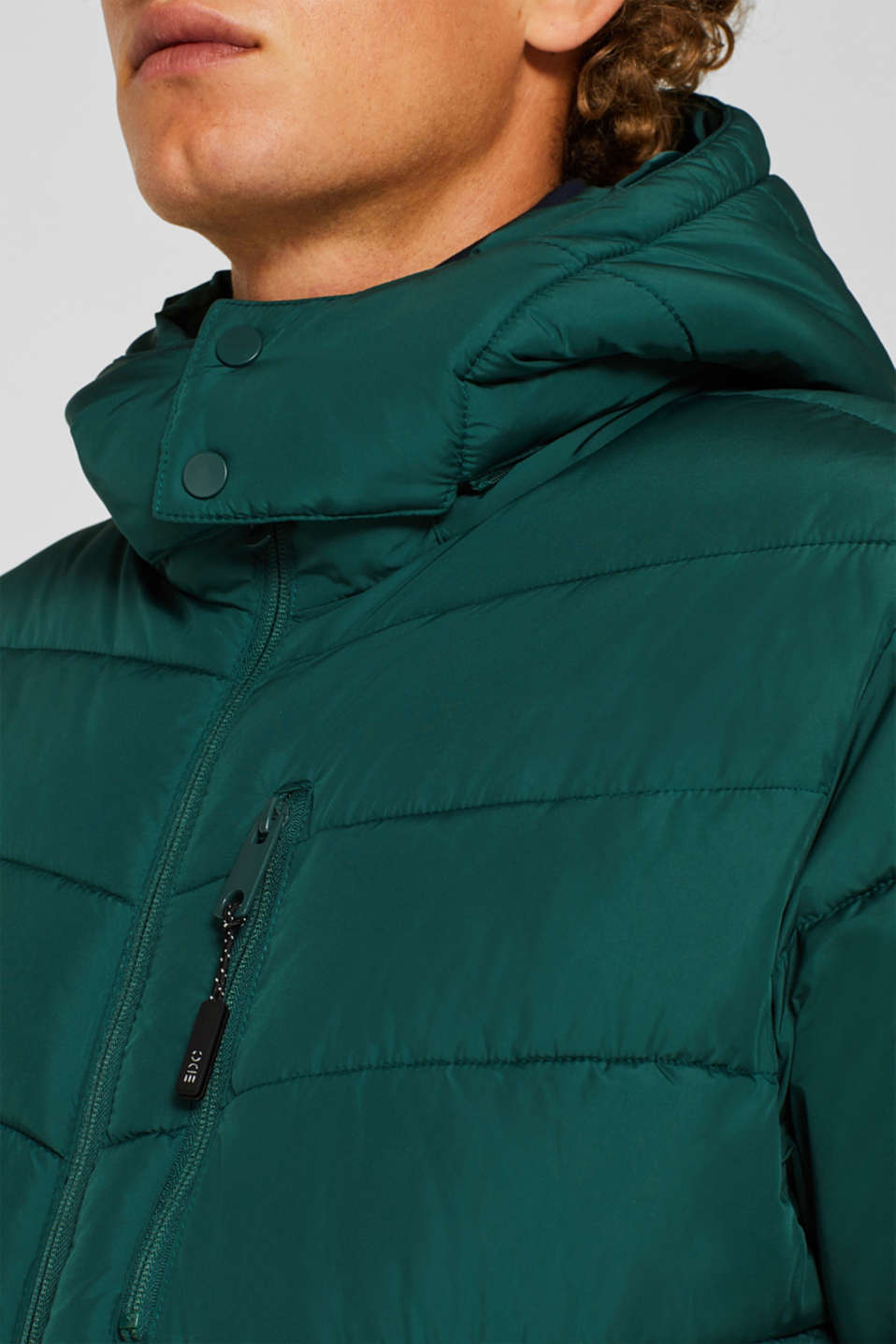 Quilted jacket with detachable hood, DARK GREEN, detail image number 2
