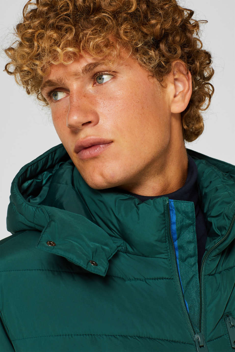 Quilted jacket with detachable hood, DARK GREEN, detail image number 5