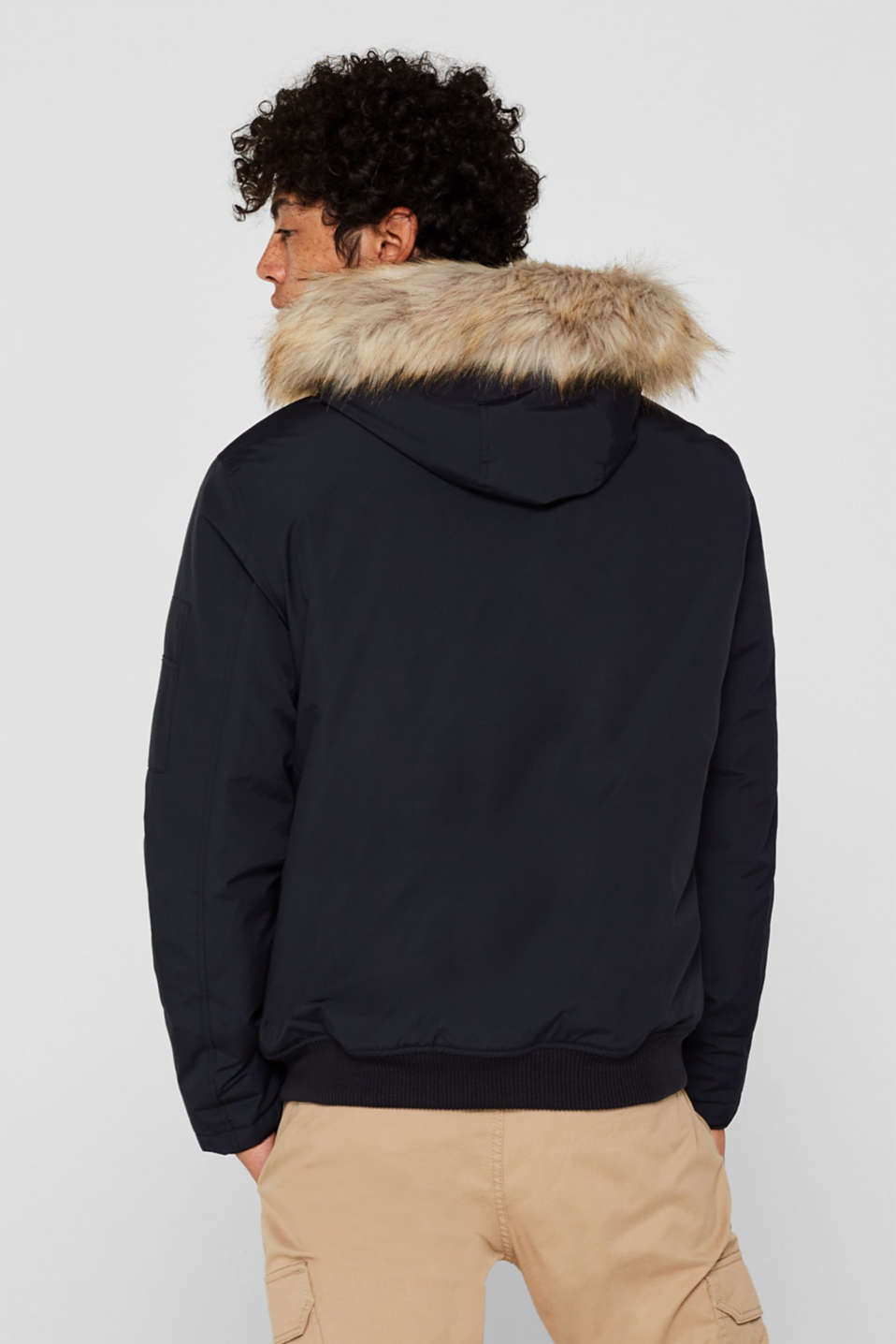 Winter jacket with a faux fur hood, NAVY, detail image number 3
