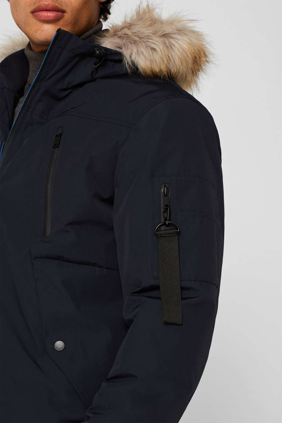 Winter jacket with a faux fur hood, NAVY, detail image number 2
