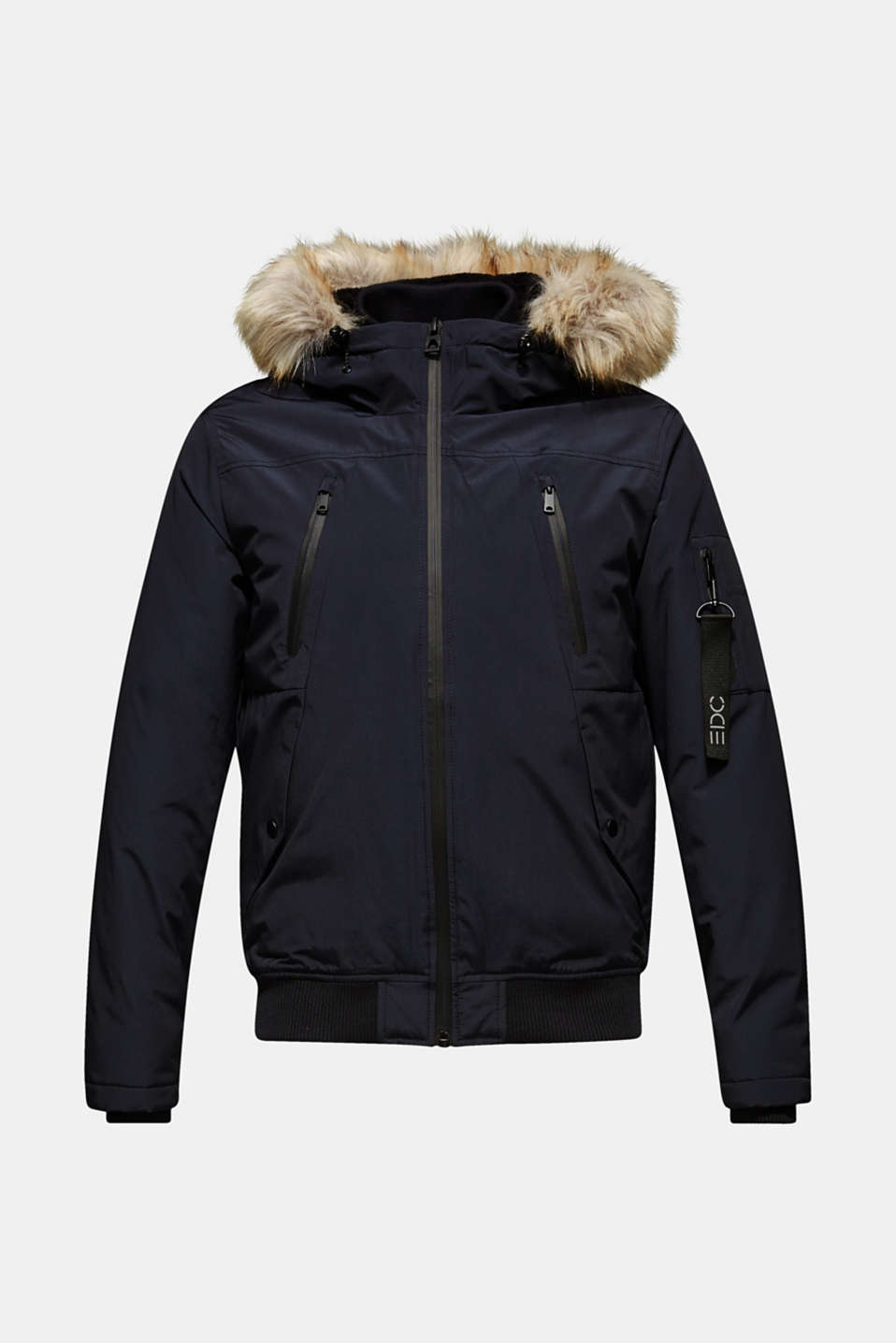 Winter jacket with a faux fur hood, NAVY, detail image number 6