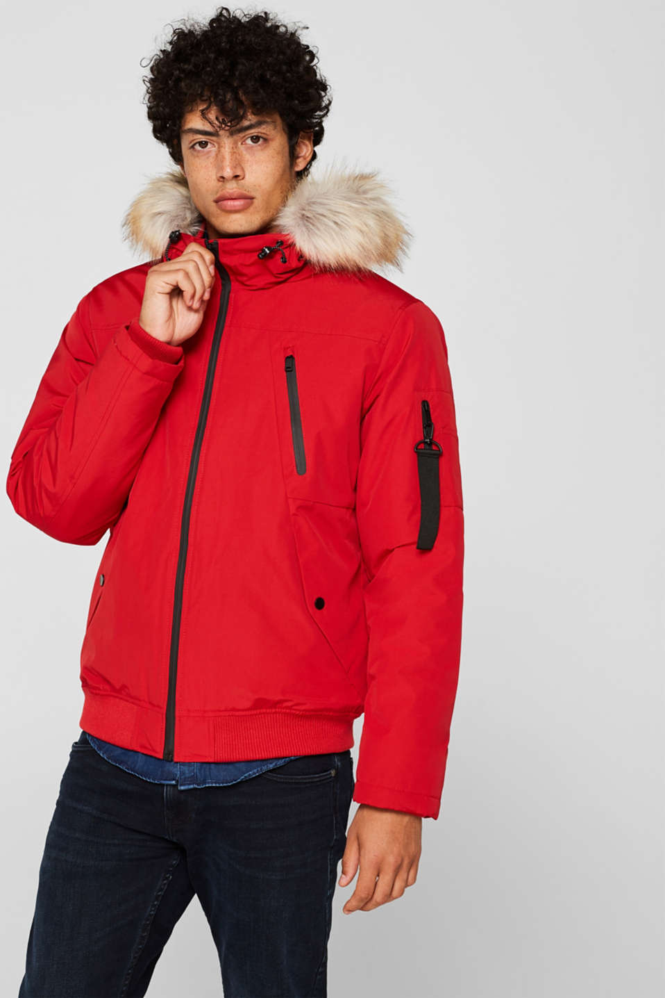 Winter jacket with a faux fur hood, RED, detail image number 0